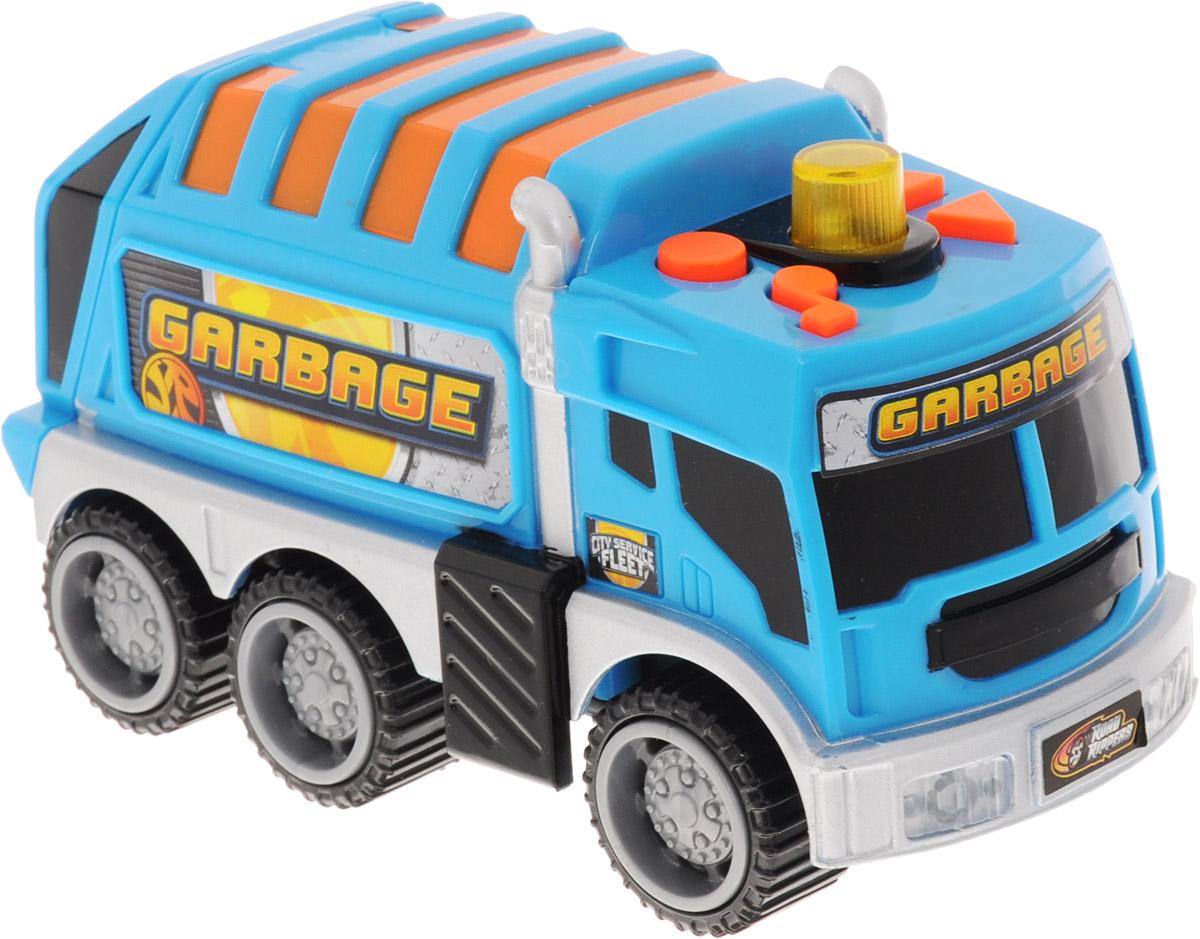 Toystate Мусоровоз цвет голубой оранжевый33220TS_голубой, оранжевыйМусоровоз Toystate прекрасно дополнит коллекцию городской техники вашего ребенка. Машина изготовлена из яркого безопасного пластика, задняя часть кузова открывается. При нажатии кнопок на крыше машинка едет вперед, назад, раздаются звук работающего двигателя, сигнал заднего хода, клаксон, и играет музыка. Мигалка на крыше кабины светится. Все эти звуки и движения превращают игру с машинкой в реалистичный и увлекательный процесс. Ваш ребенок будет часами играть с этой машинкой, придумывая различные истории. Порадуйте его таким замечательным подарком! Для работы игрушки необходимы 2 батарейки типа ААА (товар комплектуется демонстрационными).