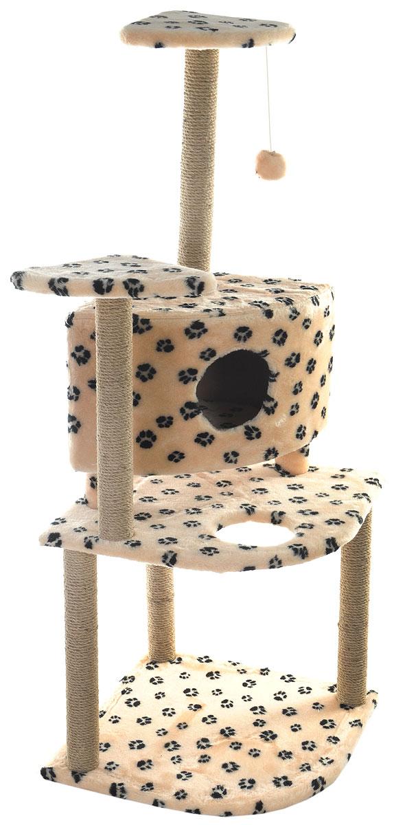 Игровой комплекс для кошек Меридиан, с домиком и когтеточкой, цвет: бежевый, черный, 55 х 53 х 150 смД441 Ла_бежевый, черные лапыИгровой комплекс для кошек Меридиан выполнен из высококачественного ДВП и ДСП и обтянут искусственным мехом. Изделие предназначено для кошек. Комплекс имеет 3 яруса. Ваш домашний питомец будет с удовольствием точить когти о специальные столбики, изготовленные из джута. А отдохнуть он сможет либо на полках, либо в домике. На одной из полок расположена игрушка, которая еще сильнее привлечет внимание питомца. Общий размер: 55 х 53 х 150 см. Размер домика: 42 х 42 х 31 см. Размер полок: 26 х 26 см. Размер нижнего яруса: 55 х 53 см.