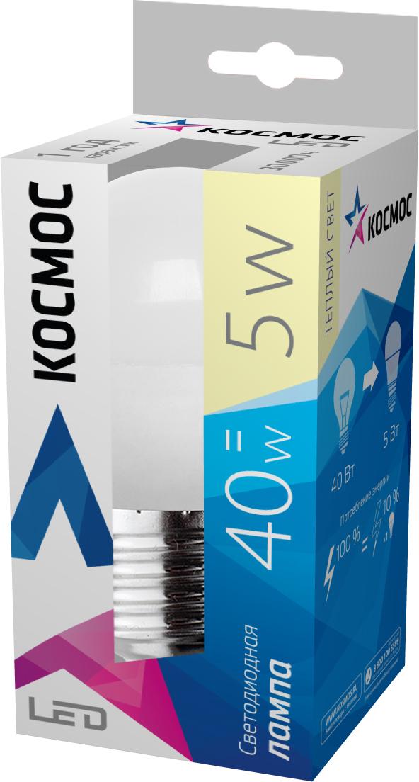 Светодиодная лампа Kosmos, теплый свет, цоколь E27, 5W, 220VLksm_LED5wGL45E2730Светодиодная лампа КОСМОС LED GL45 5Вт 220В E27 3000K (Lksm LED5wGL45E2730) с цоколем Е27 и матовым плафоном. Для стопроцентной яркости требуется 0,05 секунды. Номинальное напряжение для лампы – 220 Вольт. Обладает световым потоком в 350 Лм и полноценно заменяет лампу накаливания в 40W.