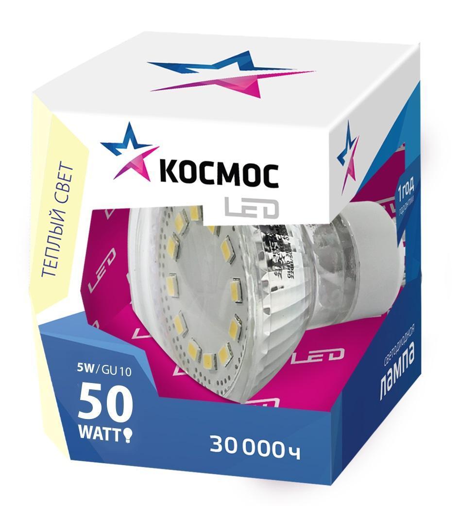 Светодиодная лампа Kosmos, теплый свет, цоколь GU10, 5W, 220VLksm_LED5wGU10C30Прекрасным заменителем 60-Ваттной лампы накаливания является продукт КОСМОС LED GU10 5Вт 220В 3000K (Lksm LED5wGU10C30). Имеет сниженную теплопроизводительность. Срок эксплуатации - до 30000 часов. Рекомендуется для установки в открытых светильниках, бра, при акцентном освещении. Обладает мягким рассеивающим светом и GU10 патроном. Уважаемые клиенты! Обращаем ваше внимание на возможные изменения в дизайне упаковки. Качественные характеристики товара остаются неизменными. Поставка осуществляется в зависимости от наличия на складе.