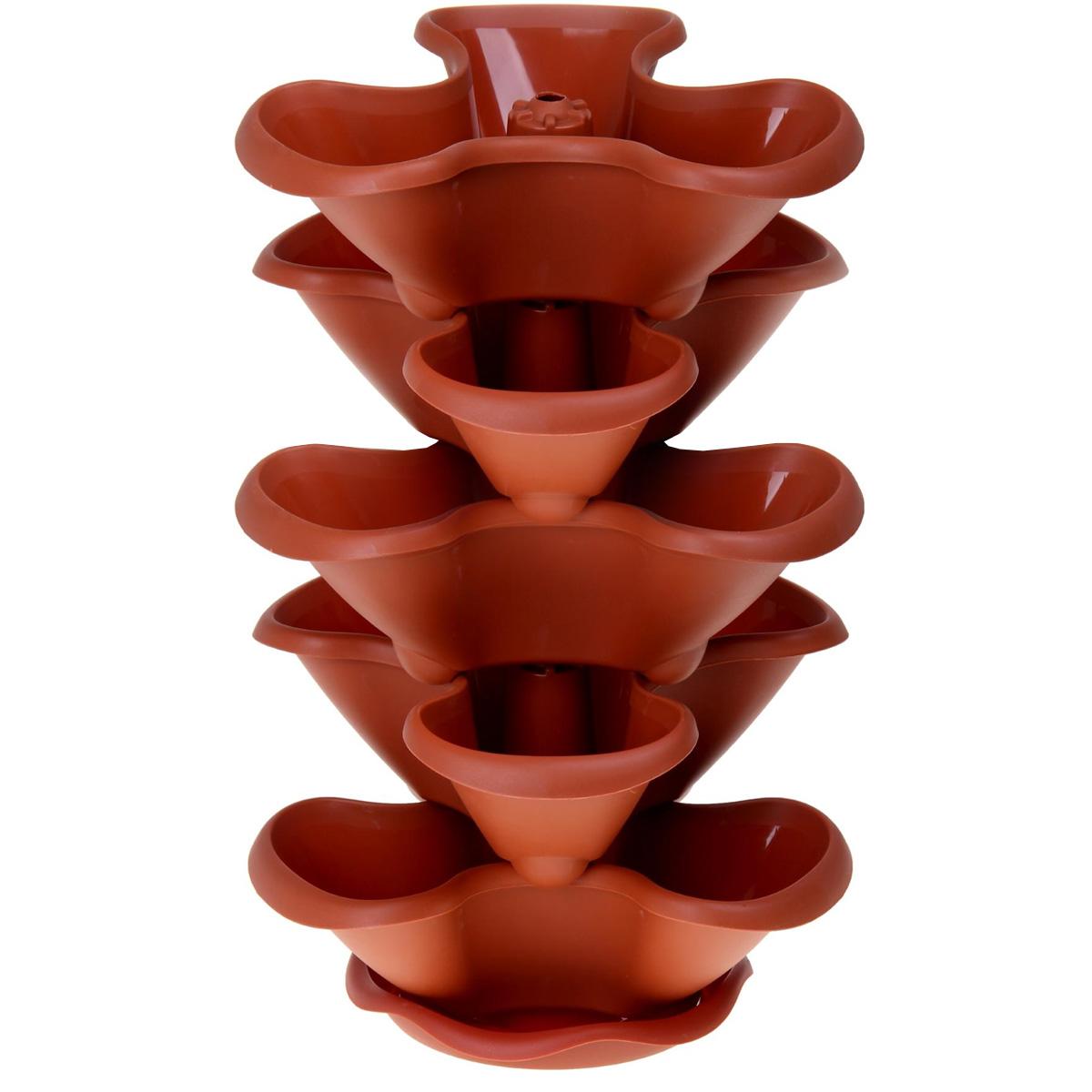 Этажерка цветочная Idea Гамма, цвет: терракотовый, 5 кашпоМ 3145Цветочная этажерка Idea Гамма изготовлена из высококачественного полипропилена и представляет собой 5 фигурных кашпо, которые устанавливаются друг на друга. Цветочная этажерка Idea Гамма изготовлена из высококачественного полипропилена и представляет собой 5 фигурных кашпо, которые устанавливаются друг на друга. Вся конструкция располагается на подставке. Такая красивая этажерка предназначена для выращивания растений и цветов в домашних условиях. Стильный яркий дизайн сделает ее отличным дополнением интерьера. Высота этажерки: 62 см. Размер кашпо: 38 см х 38 см.