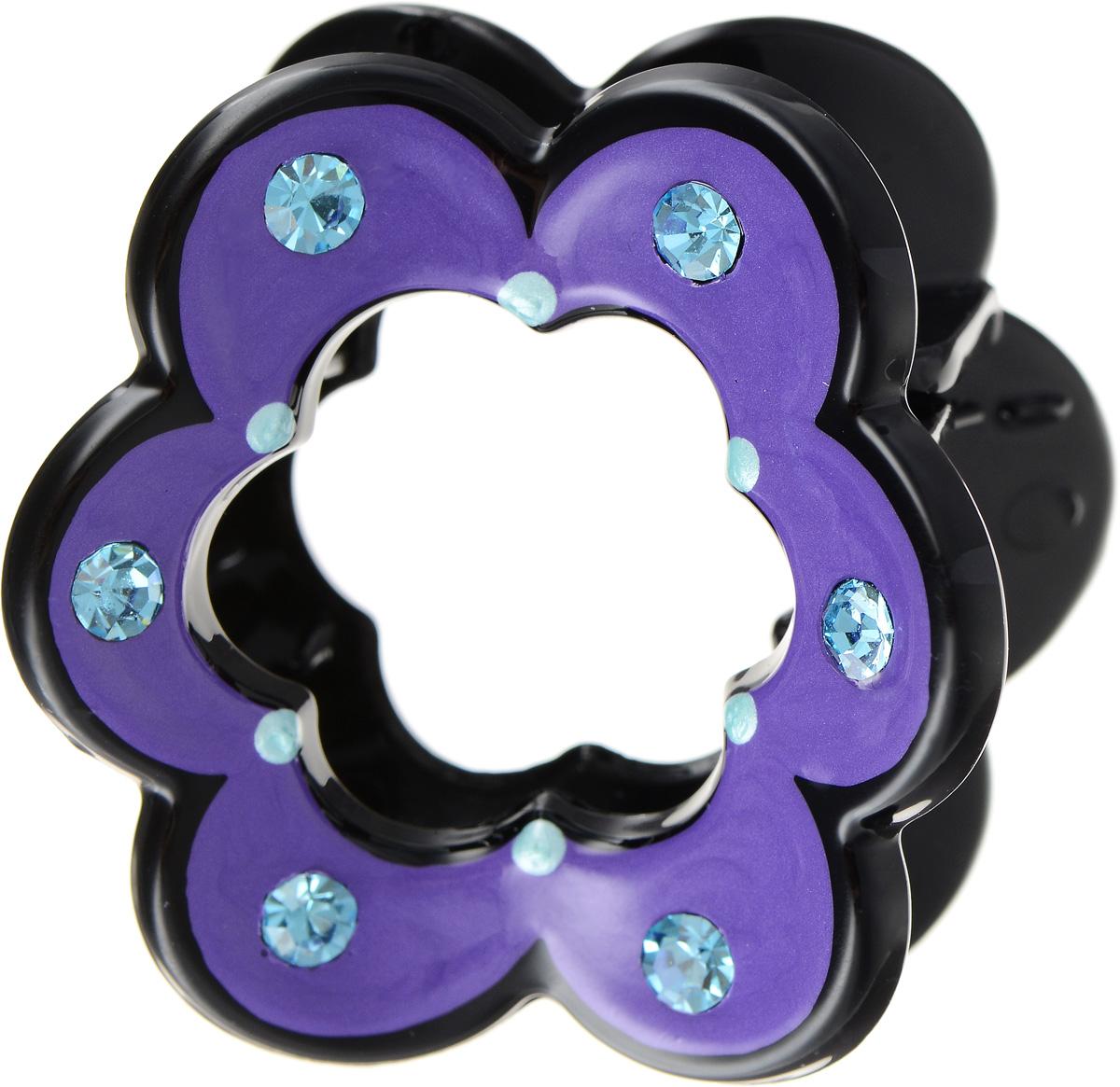 "Заколка-краб ""Selena"", цвет: сиреневый, черный. 70064253 Selena Селена"