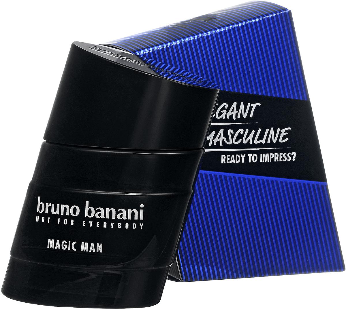 Bruno Banani Magic Man Туалетная вода 30 мл (новая упаковка)0730870138649Magic Man – новый мужской аромат от популярного немецкого дома моды Bruno Banani, известного своей экологически чистой продукцией. Аромат создан в 2008 году. Относится к группе ароматов древесные пряные. Аромат Magic Man Bruno Banani – это волшебное зелье, некая невидимая магическая материя, окутывающая кожу и притягивающая женские сердца своим природным запахом. Композиция аромата начинается нотами специй, джина и кардамона из Гватемалы, плавно растворяясь в нотах сердца: цикламене, какао и бархотке. К концу дня вы ощутите на своей коже устойчивый шлейф из нот пачули и амбры. Верхняя нота: Джин. Средняя нота: Бархатцы, Цикламен, Какао. Шлейф: Амбра, Пачули. Теплое древесное сердце аромата, яркий аккорд джина и неповторимый ладан. Дневной и вечерний аромат.