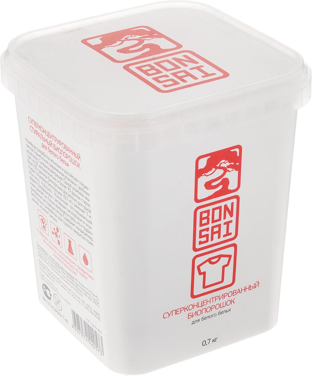 Стиральный порошок Bonsai, концентрированный, для белого белья, 700 г420570Стиральный порошок Bonsai - новейшая разработанная технология японских и российских специалистов. Герметичная современная упаковка с удобным дозатором. Суперконцентрация. Одной упаковки хватает на 23 автоматических и более 70 ручных стирок, всего 30 граммов биопорошка достаточно для одной стирки. Упаковка биопорошка (0,7 кг) заменяет 7 кг обычного порошка. Усиленный отстирывающий эффект. Биоформула с активным кислородом и энзимами удаляет не только въевшуюся грязь, но и трудновыводимые пятна. Содержит кондиционер. аработан для сушки в закрытых помещениях, не имеет запаха. Товар сертифицирован.