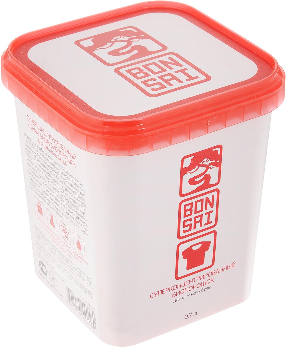 Стиральный порошок Bonsai, концентрированный, для цветного белья, 700 г420587Стиральный порошок Bonsai - новейшая разработанная технология японских и российских специалистов. Герметичная современная упаковка с удобным дозатором. Суперконцентрация. Одной упаковки хватает на 23 автоматических и более 70 ручных стирок, всего 30 граммов биопорошка достаточно для одной стирки. Упаковка биопорошка (0,7 кг) заменяет 7 кг обычного порошка. Содержит систему защиты цветных волокон с усиленным отстирывающим эффектом. Биоформула с энзимами удаляет не только въевшуюся грязь, но и трудновыводимые пятна. Содержит кондиционер. Разработан для сушки в закрытых помещениях, не имеет запаха. Товар сертифицирован.