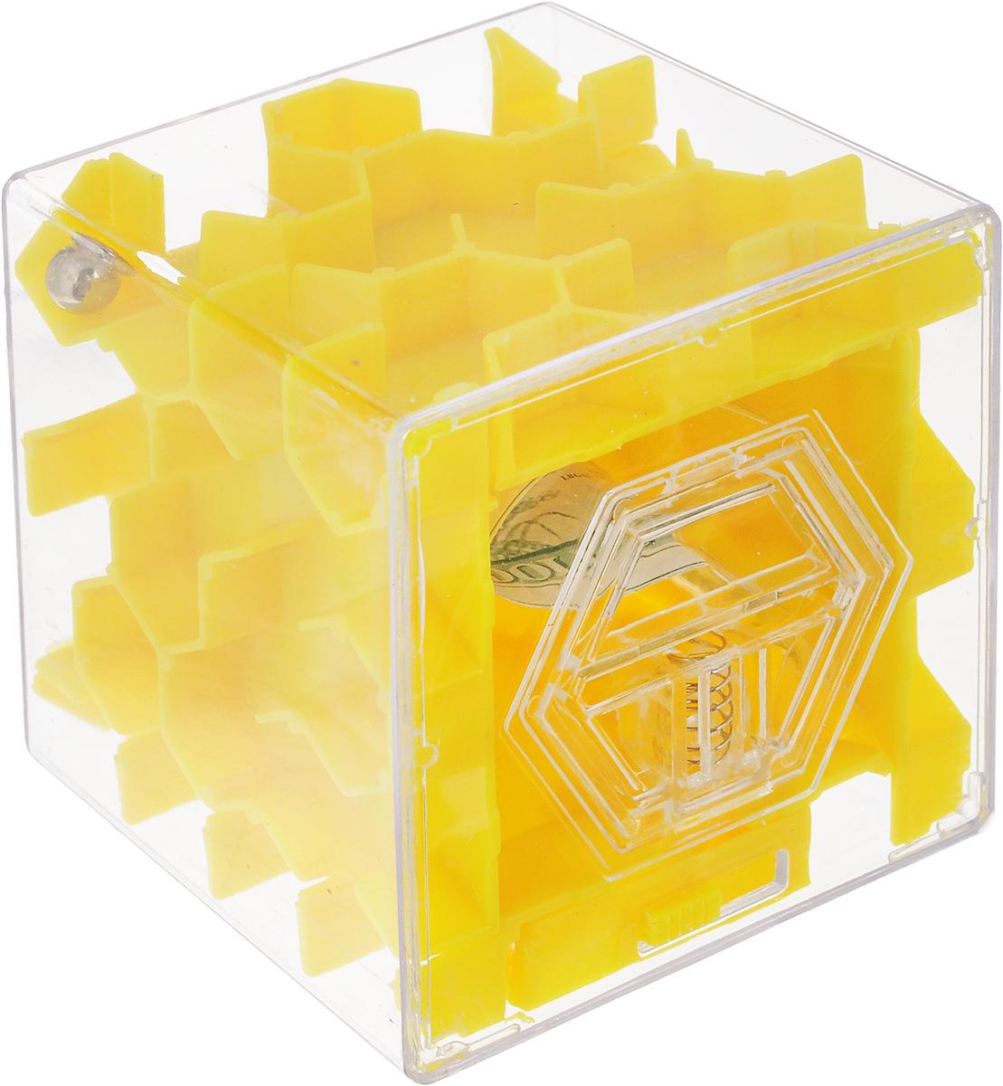 Копилка-головоломка Эврика Лабиринт, цвет: желтый97476Копилка Лабиринт - это самая настоящая головоломка. Она изготовлена из высококачественного пластика. Чтобы достать накопленные денежки, необходимо провести шарик по запутанному пути. Копилка Лабиринт - оригинальный способ преподнести подарок. Положите купюру в копилку и смело вручайте имениннику. Вашему другу придется потрудиться, чтобы достать подаренную купюру. Копилка имеет отверстие, чтобы класть в неё деньги. Размер копилки: 6,5 х 6,5 х 6,5 см.