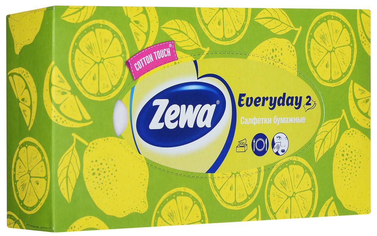 Zewa Платки косметические в коробке Everyday, 100 шт, цвет: зелёный, лимон140814757_лимонZewa Платки косметические в коробке Everyday, 100 шт