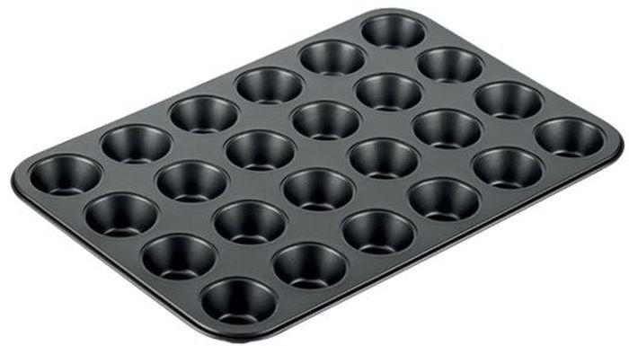 Форма для выпечки Tescoma Delicia, 24 ячейки, 38 х 26 см. 623226623226Подходит для выпечки мини-кексов с отличным антипригарным покрытием от подгорания. Подходит для использования в электрических, газовых и конвекторных печах. Можно мыть в посудомоечной машине. 3-летняя гарантия.