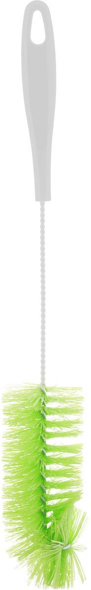 Ершик для бутылок York, цвет: белый, салатовый, длина 36,5 см4108Ершик York предназначен для мытья бутылок. Изделие оснащено жесткой прочной щетиной, выполненной из сложных полимеров и закрепленной на металлическом крученом стержне. Эргономичная рукоятка, изготовленная из полипропилена (пластика), оснащена отверстием для подвешивания. Длина ершика: 36,5 см. Длина щетины: 3 см.