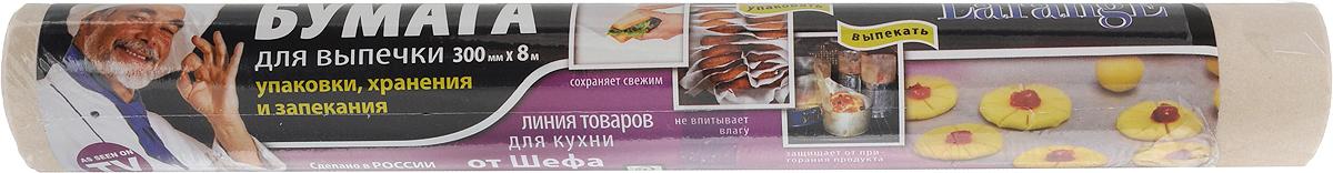 Бумага для выпечки LarangE От Шефа, 30 см х 8 м625-122Бумага LarangE От Шефа, выполненная из 100% целлюлозы, предназначена для выпекания в духовке кондитерских и хлебобулочных изделий, а также для хранения жиросодержащих продуктов. Она позволят готовить без использования маргарина и жира, способствует сохранению как вкусовых, так и полезных свойств мучных изделий. Изделие можно использовать при температуре до 220°С и не допускать прямого контакта с открытым пламенем и стенками духовки. Размер: 30 см х 8 м.