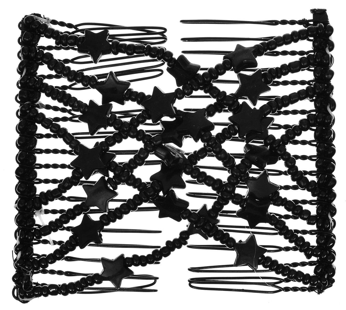 EZ-Combs Заколка Изи-Комбс, одинарная, цвет: черный. ЗИО_звездыЗИО_черный, звездыУдобная и практичная EZ-Combs подходит для любого типа волос: тонких, жестких, вьющихся или прямых, и не наносит им никакого вреда. Заколка не мешает движениям головы и не создает дискомфорта, когда вы отдыхаете или управляете автомобилем. Каждый гребень имеет по 20 зубьев для надежной фиксации заколки на волосах! И даже во время бега и интенсивных тренировок в спортзале EZ-Combs не падает; она прочно фиксирует прическу, сохраняя укладку в первозданном виде. Небольшая и легкая заколка для волос EZ-Combs поместится в любой дамской сумочке, позволяя быстро и без особых усилий создавать неповторимые прически там, где вам это удобно. Гребень прекрасно сочетается с любой одеждой: будь это классический или спортивный стиль, завершая гармоничный облик современной леди. И неважно, какой образ жизни вы ведете, если у вас есть EZ-Combs, вы всегда будете выглядеть потрясающе.