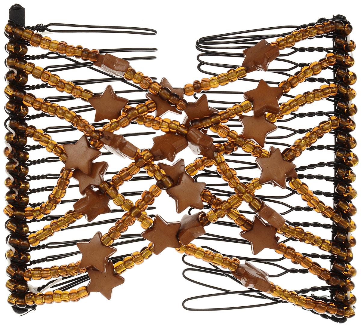 EZ-Combs Заколка Изи-Комбс, одинарная, цвет: коричневый. ЗИО_звездыЗИО_коричневый, звездыУдобная и практичная EZ-Combs подходит для любого типа волос: тонких, жестких, вьющихся или прямых, и не наносит им никакого вреда. Заколка не мешает движениям головы и не создает дискомфорта, когда вы отдыхаете или управляете автомобилем. Каждый гребень имеет по 20 зубьев для надежной фиксации заколки на волосах! И даже во время бега и интенсивных тренировок в спортзале EZ-Combs не падает; она прочно фиксирует прическу, сохраняя укладку в первозданном виде. Небольшая и легкая заколка для волос EZ-Combs поместится в любой дамской сумочке, позволяя быстро и без особых усилий создавать неповторимые прически там, где вам это удобно. Гребень прекрасно сочетается с любой одеждой: будь это классический или спортивный стиль, завершая гармоничный облик современной леди. И неважно, какой образ жизни вы ведете, если у вас есть EZ-Combs, вы всегда будете выглядеть потрясающе.