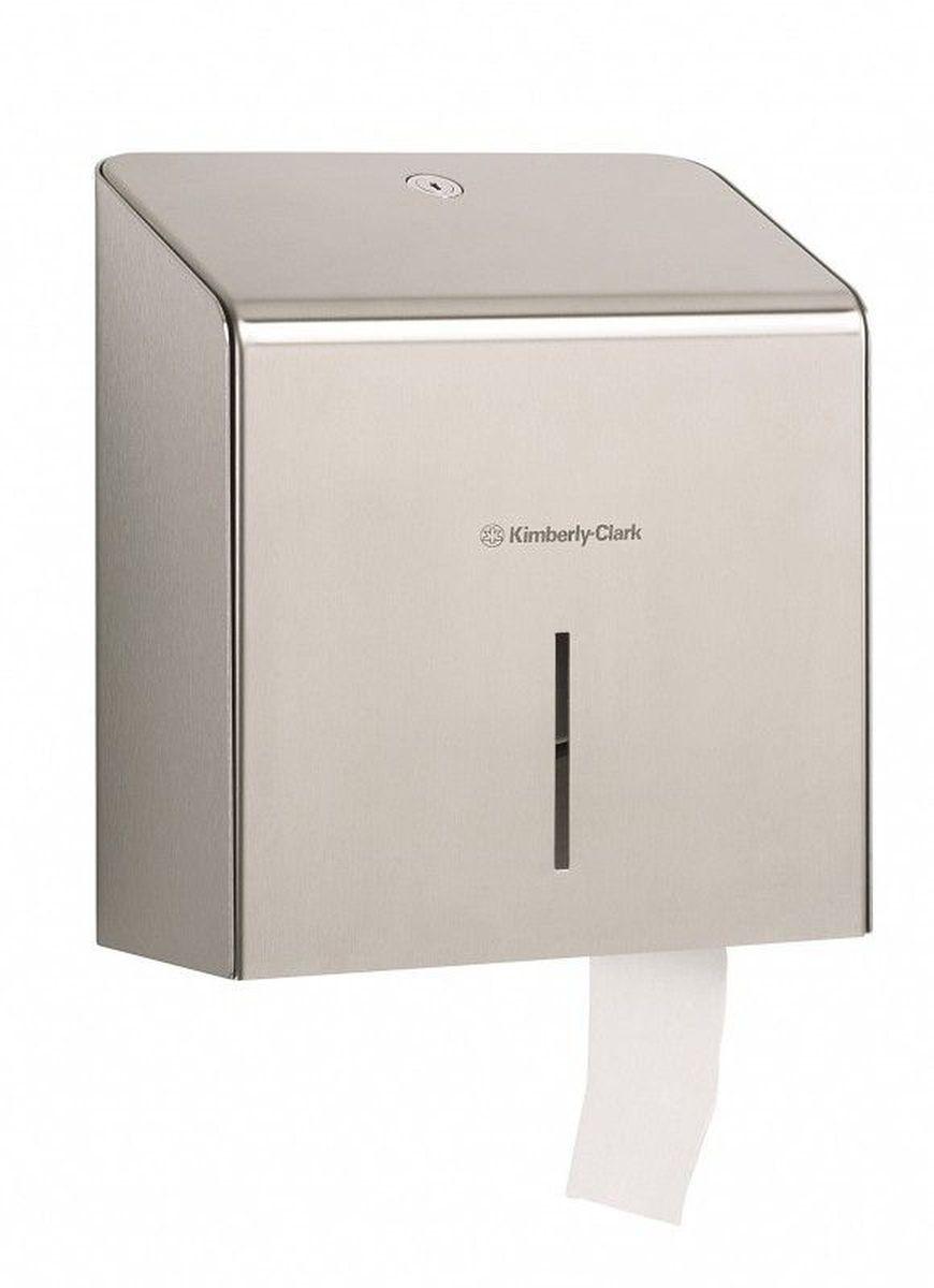 Диспенсер для туалетной бумаги Kimberly-Clark Professional. Jumbo, большой рулон. 89748974Ассортимент профессиональных диспенсеров для рулонной туалетной бумаги, которые выполнены в одном стиле с диспенсерами для мыла и для полотенец для рук Kimberly-Clark Professional. Диспенсеры мотивируют сотрудников соблюдать гигиенические нормы, повышают уровень комфорта, демонстрируют заботу о персонале и помогают сократить расходы. Идеальное решение, обеспечивающее подачу туалетной бумаги в рулонах Jumbo без прикосновения к диспенсеру в туалетных комнатах офисов и гостиниц с высокой проходимостью при высоких требованиях к внешнему виду. Помогает снизить риск перекрестного загрязнения и предотвратить распространение бактерий, обеспечивает экономию средств, отличается большой вместимостью и простотой обслуживания. Формат поставки: элегантный диспенсер; надежное крепление, корпус выполнен из нержавеющей стали. Совместим с туалетной бумагой KLEENEX 8512.