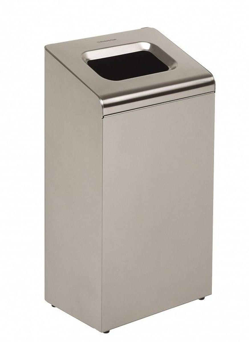 Контейнер для мусора Kimberly-Clark Professional, цвет: металлический, средний. 89758975Корзина для мусора из нержавеющей стали из премиальной серии KIMBERLY-CLARK PROFESSIONAL® предназначена для отелей, офисов и учреждений с высоким уровнем требований как к гигиене, так и к интерьеру. Данная модель отлично вписывается и дополняет профессиональную линейку диспенсеров из 2мм нержавеющей стали KIMBERLY-CLARK PROFESSIONAL®. Удобная система открытия крышки мусорной корзины для смены мешка для мусора. Объем корзины 80 литров. Формат поставки: 1 мусорная корзина из нержавеющей стали.