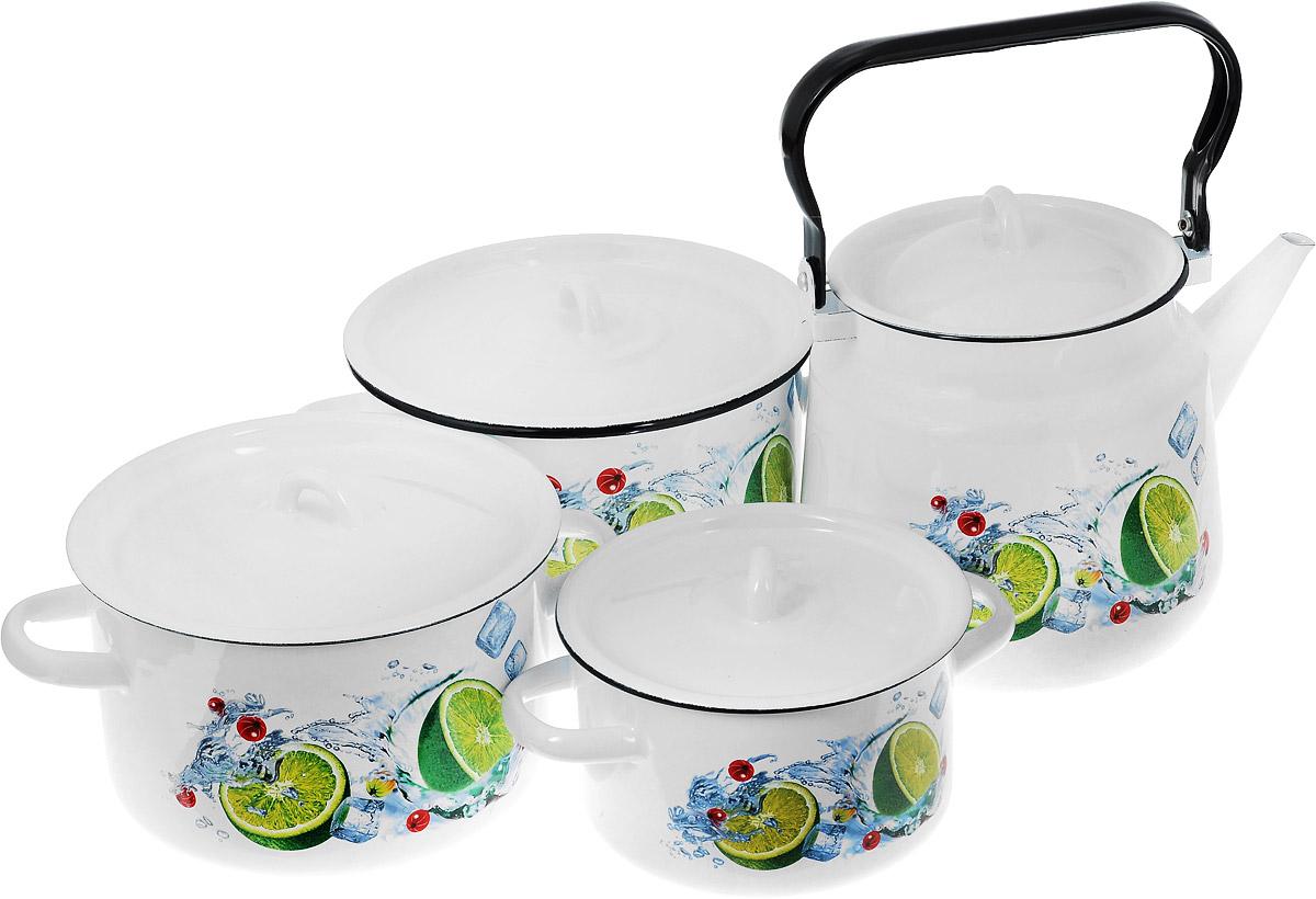 Набор посуды СтальЭмаль Мохито, 7 предметов1с142/1Набор посуды СтальЭмаль Мохито состоит из 3 кастрюль разного объема, 3 крышек и чайника. Изделия выполнены из качественной эмалированной стали. Эмаль защищает сталь от коррозии, придает посуде гладкую поверхность и надежно защищает от кислот и щелочей. Эмаль устойчива к пищевым кислотам, не вступает во взаимодействие с продуктами и не искажает их вкусовые качества. Прочный стальной корпус обеспечивает эффективную тепловую обработку пищевых продуктов и не деформируется в процессе эксплуатации. Внешняя поверхность изделий оформлена красочным изображением. Кастрюли и чайник снабжены стальными крышками. Чайник имеет прочную подвижную ручку. Посуда подходит для газовых, электрических, стеклокерамических, индукционных плит, а также для духовки. Можно мыть в посудомоечной машине. Объем кастрюль: 1,5 л; 2,9 л; 3,9 л. Диаметр кастрюль (по верхнему краю): 16 см; 19 см; 21 см. Ширина кастрюль (с учетом ручек): 21 см;...
