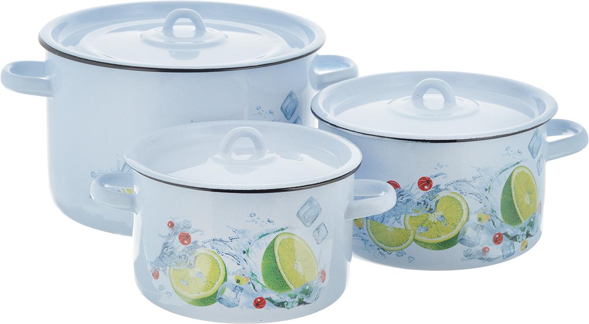 Набор кастрюль СтальЭмаль Мохито, с крышками, 6 предметов1с112/1Нарядный набор эмалированных кастрюль СтальЭмаль Мохито станет украшением вашей кухни и поможет вам готовить вкусные супы и компоты. Эмаль является тонкой стеклянной пленкой и надежно защищает ваши блюда от окисления, в посуде с таким покрытием можно хранить готовые блюда, не опасаясь за свое здоровье. Эмаль легко мыть, она устойчива к воздействию любых металлических предметов: ножей, ложек, железных лопаток, ее можно использовать для всех видов плит. Объем кастрюль: 2,9 л; 3,9 л; 7 л. Диаметр кастрюль (по верхнему краю): 19 см; 21 см; 26 см. Ширина кастрюль (с учетом ручек): 25 см; 28 см; 34 см. Высота стенки кастрюль: 12 см; 12,5 см; 16,5 см.