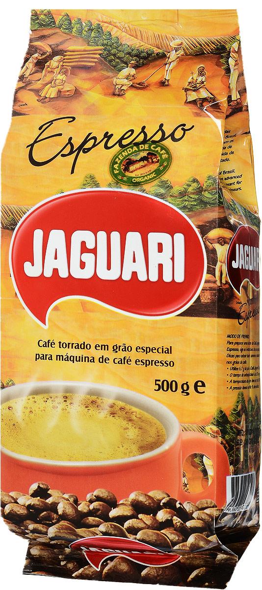 Jaguari Espresso кофе в зернах, 500 гКЗ-ЯЭJaguari Espresso - натуральный зерновой кофе средней обжарки. Напиток обладает, прекрасным ароматом, оригинальным мягким вкусом с шоколадными нотками и умеренной сладостью. Упакован в пакет с клапаном для более длительного хранения, надежно сохраняет вкус и аромат в течении года. Кофе произведен и упакован в Бразилии. Согласно всем международным стандартам имеет категорию Высшее качество. Идеально подходит для приготовления дома и в офисе, для кафе, баров и в ресторанах.