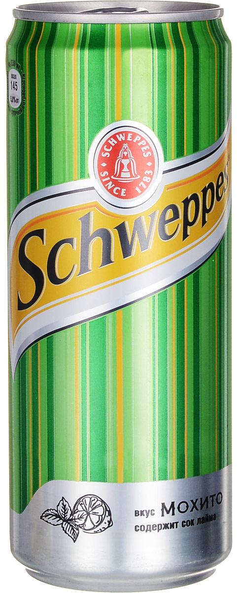 Schweppes Мохито напиток сильногазированный, 0,33 л1378901Schweppes Мохито - освежающий напиток со вкусом лайма и мяты с традиционной для Schweppes горчинкой. Это изысканный продукт, пополнивший портфель бренда Schweppes в 2015 году. Уважаемые клиенты! Обращаем ваше внимание на то, что упаковка может иметь несколько видов дизайна. Поставка осуществляется в зависимости от наличия на складе. Уважаемые клиенты! Обращаем ваше внимание, что полный перечень состава продукта представлен на дополнительном изображении.