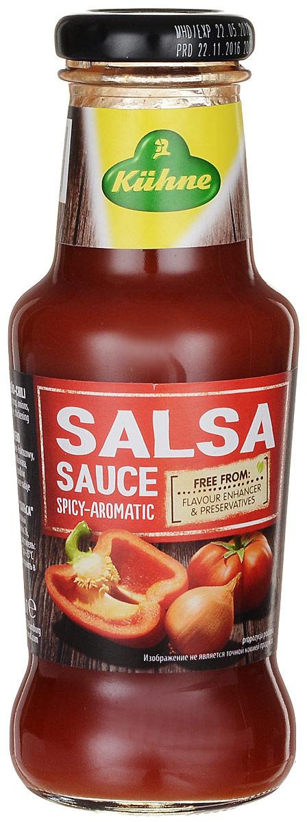 Kuhne Spicy Sauce Salsa соус томатный сальса, 250 г0560013Большое количество спелых томатов в сочетании со стручковым перцем халапеньо и специями придают соусу типичный мексиканский вкус. Умеренно острый соус Сальса хорошо сочетается с мясом и овощами.