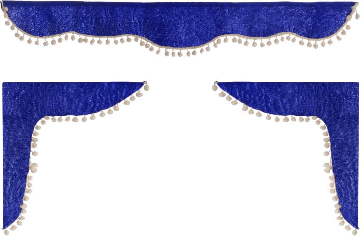 Ламбрекен для автомобильных штор Главдор, на Газель и микроавтобусы, цвет: синий, бежевыйGL-160_синий, бежевыйЛамбрекен для автомобильных штор Главдор изготовлен из бархатистого текстиля и декорирован кисточками по всей длине. Ламбрекен фиксируется при помощи липучек в верхней области лобового стекла и по сторонам боковых стекол. Такой аксессуар защитит от солнечных лучей и добавит уюта в интерьер салона. Размер ламбрекена на лобовое стекло: 140 х 20 см. Размер ламбрекена на боковое стекло: 60 х 45 см.