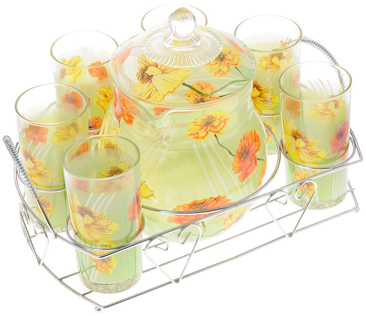 Набор питьевой Bekker Маки, 8 предметов. BK-5804BK-5804_маки красные,жёлтыеНабор Bekker Маки состоит из шести высоких стаканов и графина с крышкой. Посуда выполнена из высококачественного стекла в элегантном дизайне с рисунком в виде цветов. Предметы набора располагаются на изящной металлической подставке с двумя ручками. Благодаря такому набору пить напитки будет еще вкуснее. Он украсит сервировку стола, а также станет отличным подарком на любой праздник. Предметы набора можно мыть в посудомоечной машине. Высота стенки графина: 14 см. Диаметр графина по верхнему краю: 11,5 см. Объем графина: 1,6 л. Диаметр стакана по верхнему краю: 6 см. Высота стакана: 12 см. Объем стакана: 252 мл. Размер подставки: 30 х 23,5 х 11 см.