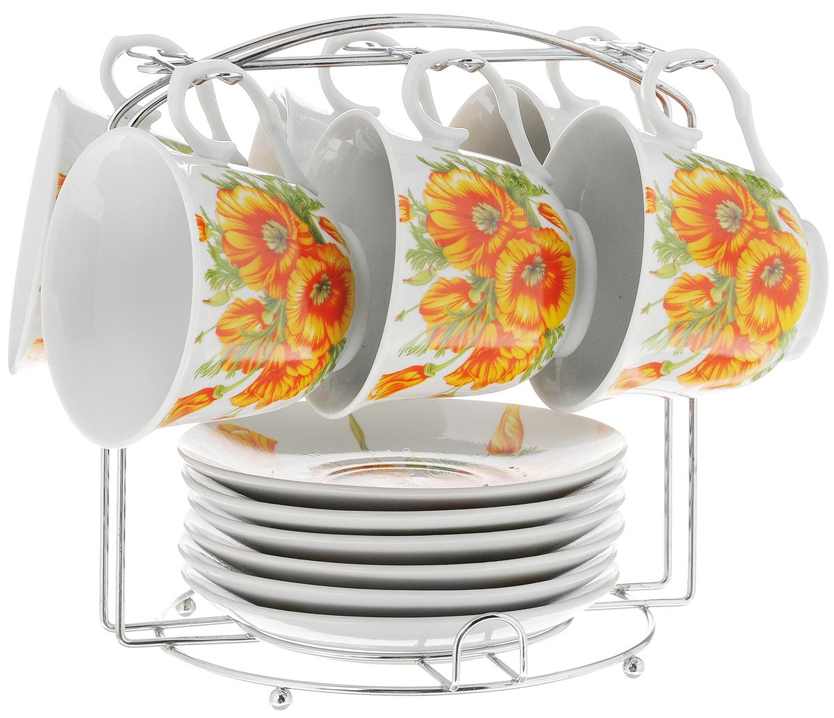 Набор чайный Bella, на подставке, 13 предметов. DL-P6MS-163DL-P6MS-163Набор Bella состоит из шести чашек и шести блюдец, изготовленных из высококачественного фарфора. Чашки оформлены красочным цветочным рисунком. Изделия расположены на металлической подставке. Такой набор подходит для подачи чая или кофе. Изящный дизайн придется по вкусу и ценителям классики, и тем, кто предпочитает утонченность и изысканность. Он настроит на позитивный лад и подарит хорошее настроение с самого утра. Чайный набор Bella - идеальный и необходимый подарок для вашего дома и для ваших друзей в праздники. Рекомендуется мыть вручную с применением любых моющих средств, предназначенных для мытья посуды и стекла. Кроме абразивных средств, так как может привести к появлению царапин на поверхности изделия и, соответственно, к ухудшению его внешнего вида. Объем чашки: 250 мл. Диаметр чашки (по верхнему краю): 9 см. Высота чашки: 7,3 см. Диаметр блюдца: 13,5 см. Высота блюдца: 2 см. Размер...