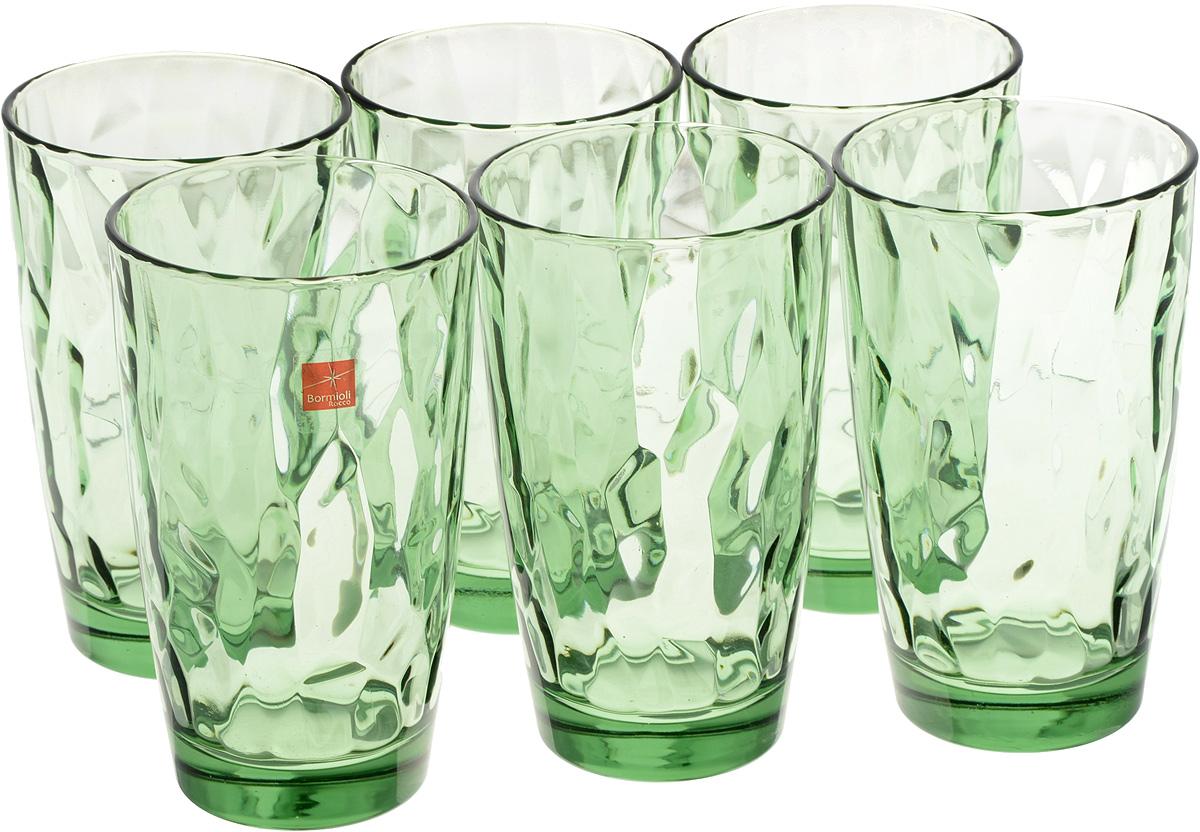 Набор стаканов Bormioli Rocco Даймонд, цвет: зеленый, 470 мл, 6 шт350250M02321990Набор Bormioli Rocco Даймонд выполнен из стекла, состоит из 6 высоких стаканов. Стаканы предназначены для холодных напитков. С внутренней стороны поверхность стаканов рельефная, что создает эффект игры и преломления. Благодаря такому набору пить напитки будет еще вкуснее. Стаканы Bormioli Rocco Даймонд станут идеальным украшением праздничного стола и отличным подарком к любому празднику. Объем стакана: 470 мл. Диаметр стакана по верхнему краю: 8,5 см. Высота стакана: 14,5 см.