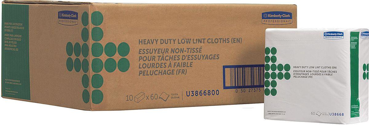 Салфетка протирочная Kimberly-Clark Professional, 4 сложения, 60 листов, 10 упаковок. 3866838668Созданы специально для аэрокосмической отрасли, также рекомендованы к использованию в таких отраслях как металлургическая, нефтеперерабатывающая, газоваяпромышленность, автомобилестроение, и др., где особоважны скорость выполнения работ, низкое отделение ворса и прочность материала. Продукция соответствует требованиям авиапроизводителей Boeing и Airbus, нормам AMS 3819C и BMS 15-5F. Салфетки могут быть использованы в системах для влажной уборки Kimberly-Clark 7969.
