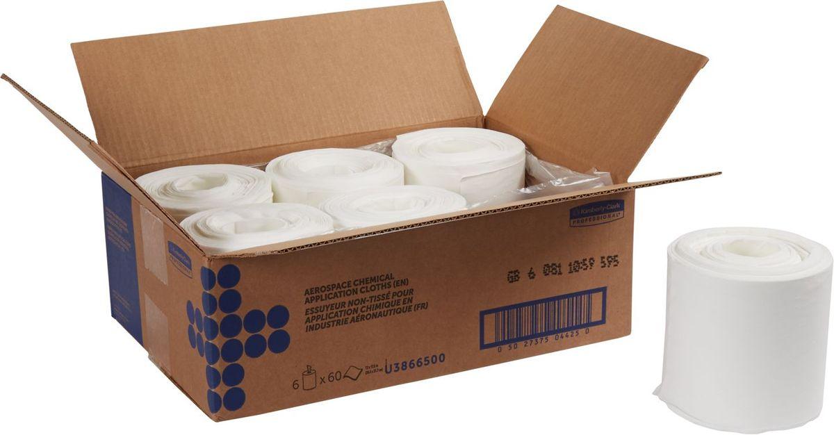 Салфетка протирочная Kimberly-Clark Professional, 60 листов, 6 рулонов. 3866538665Созданы специально для аэрокосмической отрасли, также рекомендованы к использованию в таких отраслях как металлургическая, нефтеперерабатывающая, газоваяпромышленность, автомобилестроение, и др., где особоважны скорость выполнения работ, низкое отделение ворса и прочность материала. Продукция соответствует требованиям авиапроизводителей Boeing и Airbus, нормам AMS 3819C и BMS 15-5F. Салфетки могут быть использованы в системах для влажной уборки Kimberly-Clark 7919.