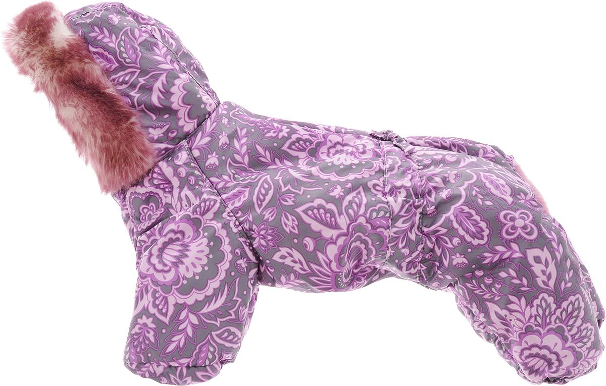 Комбинезон для собак Dogmoda Winter, зимний, для девочки, цвет: фиолетовый, серый. Размер 2 (M)DM-150335-2_серый, фиолетовый, розовыйЗимний комбинезон для собак Dogmoda Winter отлично подойдет для прогулок в зимнее время года. Комбинезон изготовлен из полиэстера, защищающего от ветра и снега, с утеплителем из синтепона, который сохранит тепло даже в сильные морозы, а на подкладке используется мягкий материал, который обеспечивает отличный воздухообмен. Комбинезон с капюшоном застегивается на кнопки, благодаря чему его легко надевать и снимать. Капюшон украшен искусственным мехом и не отстегивается. Низ рукавов и брючин оснащен внутренними резинками, которые мягко обхватывают лапки, не позволяя просачиваться холодному воздуху. На пояснице комбинезон затягивается на шнурок-кулиску. Благодаря такому комбинезону простуда не грозит вашему питомцу.