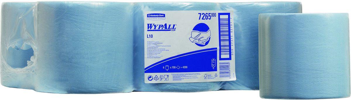 Салфетка бумажная Wypall L10 Extra, 700 листов, 6 рулонов. 72657265Протирочные салфетки с ограниченным сроком службы, произведенные при помощи технологии AIRFLEX®. Благодаря данной технологии изготовления салфетки WYPALL серии L10 отличаются особенной прочностью и быстротой впитывания жидкостей. Идеальные салфетки для универсальных задач, сбора грязи, работы с маслом, протирки и впитывания жидкостей в пищевой промышленности, автомобильной индустрии и многих других областей. Формат поставки: 6 рулонов голубого цвета с перфорацией и центральной подачей на 700 отрывов.