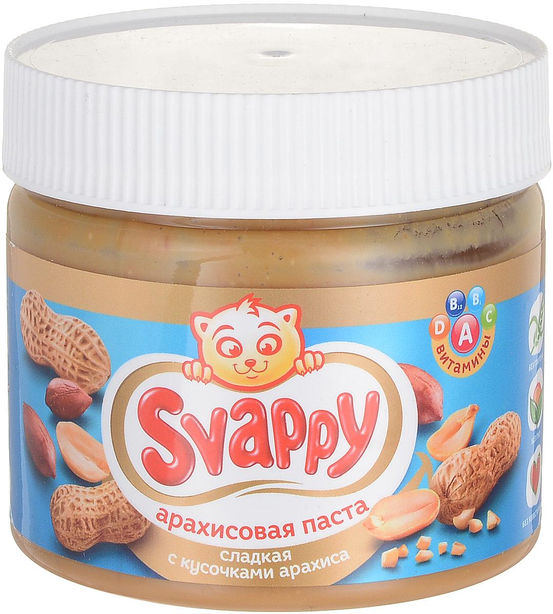 """Арахисовая сладкая паста """"Svappy"""" - эксклюзивный продукт из отборного аргентинского арахиса, выращенного по стандартам контроля GMP. Паста не содержит в себе ГМО, глютена и прочих вредных веществ. Процедура обжаривания арахиса происходит по особой рецептуре, разработанной технологами, также паста имеет приятную консистенцию, не прилипает во время еды и насыщена витаминами A, B1, B12, C, D. Каждая баночка проходит чуткий контроль технологов и отдела ОТК. Продукция полностью сертифицирована и прошла все лабораторные и бактериологические исследования. Уважаемые клиенты! Обращаем ваше внимание, что полный перечень состава продукта представлен на дополнительном изображении."""