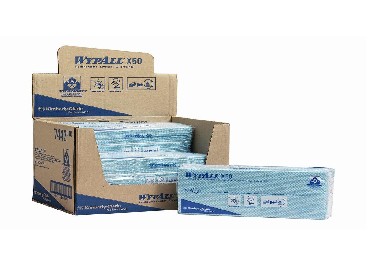 Салфетка протирочная Wypall Х50, 50 листов. 74427442Протирочные салфетки для многоразового использования, изготовленные по технологии HYDROKNIT®, обладают отличной впитывающей способностью, долговечностью и прочностью (как в сухом, так и во влажном состоянии), могут использоваться с большинством растворителей, обеспечивают быструю очистку и помогают сократить расходы. Идеальное решение для гигиеничной уборки в туалетных комнатах, клинических помещениях и палатах пациентов, на кухнях и участках приготовления пищи; помогает предотвратить перекрестное загрязнение за счет цветовой кодировки. Салфетки допускают стирку и повторное использование, что уменьшает объем отходов и сокращает эксплуатационные затраты. Формат поставки: протирочные салфетки со сложением interfold, упакованные в полиэтиленовый пакет для защиты от брызг и воды, обеспечивающий мгновенный доступ к гигиенически защищенным салфеткам на рабочем месте. 7441 - синий 7442 - зеленый 7443 - желтый 7444 - красный