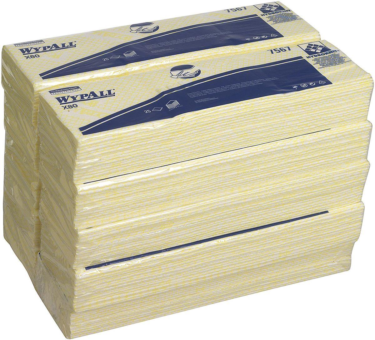 Салфетка протирочная Wypall Х80, 4 сложения, 25 листов, 10 упаковок. 75677567Протирочные салфетки для многоразового использования, изготовленные по технологии HYDROKNIT®, обладают отличной впитывающей способностью, долговечностью и прочностью (как в сухом, так и во влажном состоянии), могут использоваться с большинством растворителей, обеспечивают быструю очистку и помогают сократить расходы. Идеальное решение для выполнения сложных задач на производственных участках со строгим разделением операций, при грубой очистке в клинических помещениях и палатах пациентов, на кухнях и участках приготовления пищи; помогает предотвратить перекрестное загрязнение за счет цветовой кодировки. Салфетки можно стирать и использовать повторно, что уменьшает объем отходов и сокращает эксплуатационные затраты. Формат поставки: сложенные протирочные салфетки, упакованные в полиэтиленовый пакет для защиты от брызг и воды, обеспечивающий мгновенный доступ к гигиенически защищенным салфеткам на рабочем месте. 7 - синий 7566 - зеленый 7567 - желтый 7568 - красный