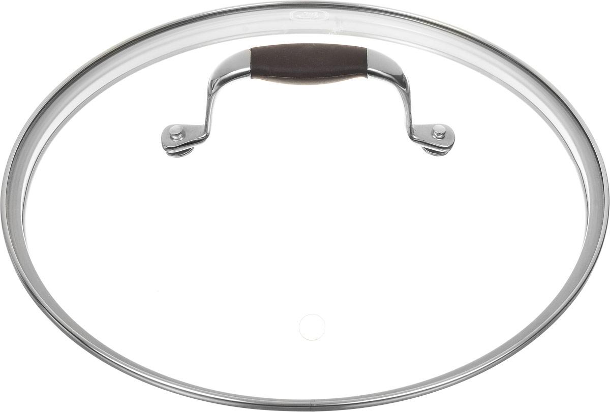 Крышка Rondell Mocco. Диаметр 24 смRDА-533Крышка Rondell Mocco, изготовленная из закаленного стекла, позволяет контролировать процесс приготовления без потери тепла. Ободок из нержавеющей стали предотвращает сколы на стекле. Крышка оснащена отверстием для паровыпуска. Нескользящая ручка выполнена из нержавеющей стали с вставкой из силикона. Крышку можно мыть в посудомоечной машине. Не подходит для использования в духовке.