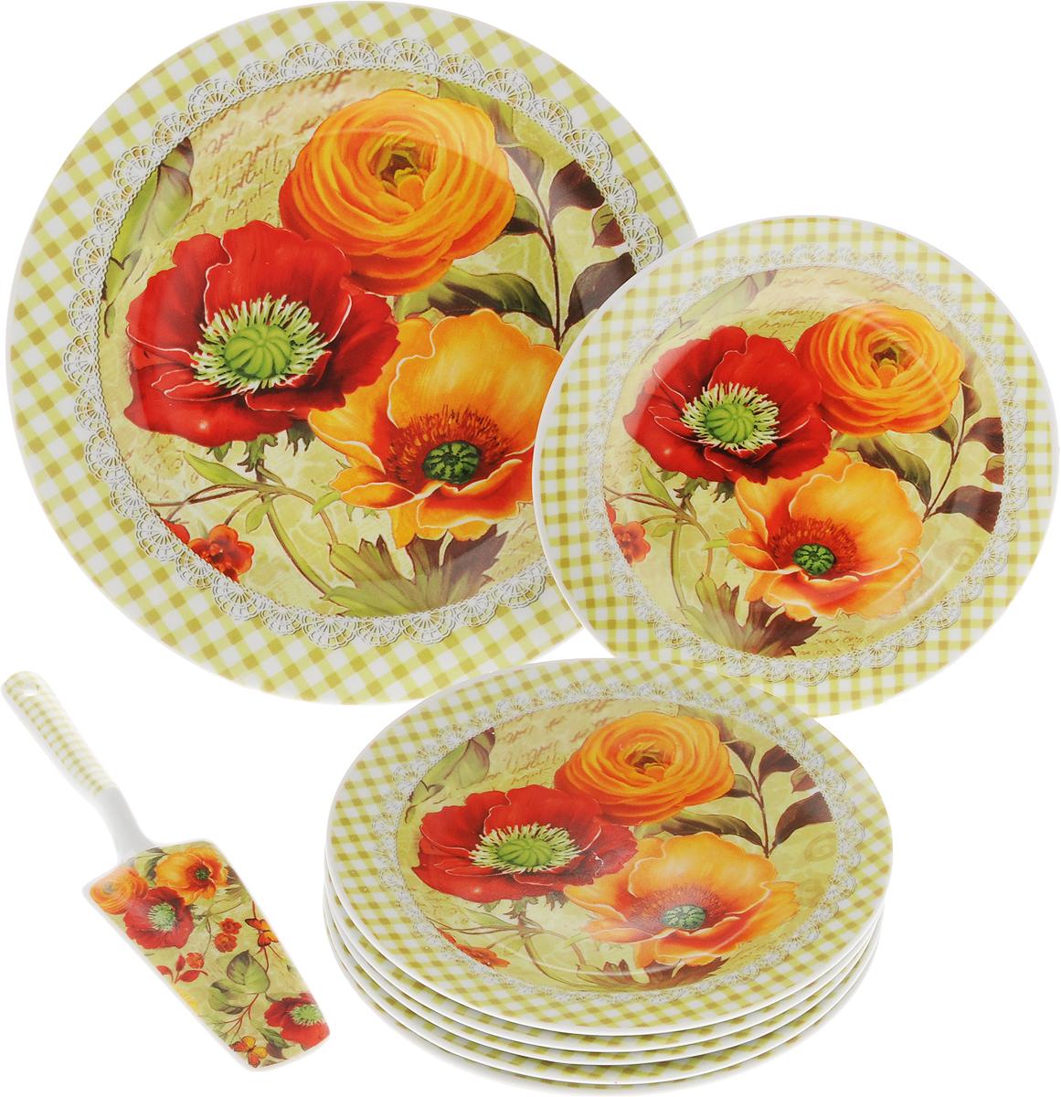 Набор для торта Bella, 8 предметов. DL-S8CB-179DL-S8CB-179Набор для торта Bella состоит из 7 тарелок и лопатки. Изделия выполнены из высококачественного фарфора и оформлены ярким рисунком. Набор идеален для подачи тортов, пирогов и другой выпечки. Яркий дизайн сделает набор изысканным украшением праздничного стола. Диаметр меленьких тарелок: 19,3 см. Диаметр большой тарелки: 26,5 см. Размеры лопатки: 23 х 5,3 х 2 см.