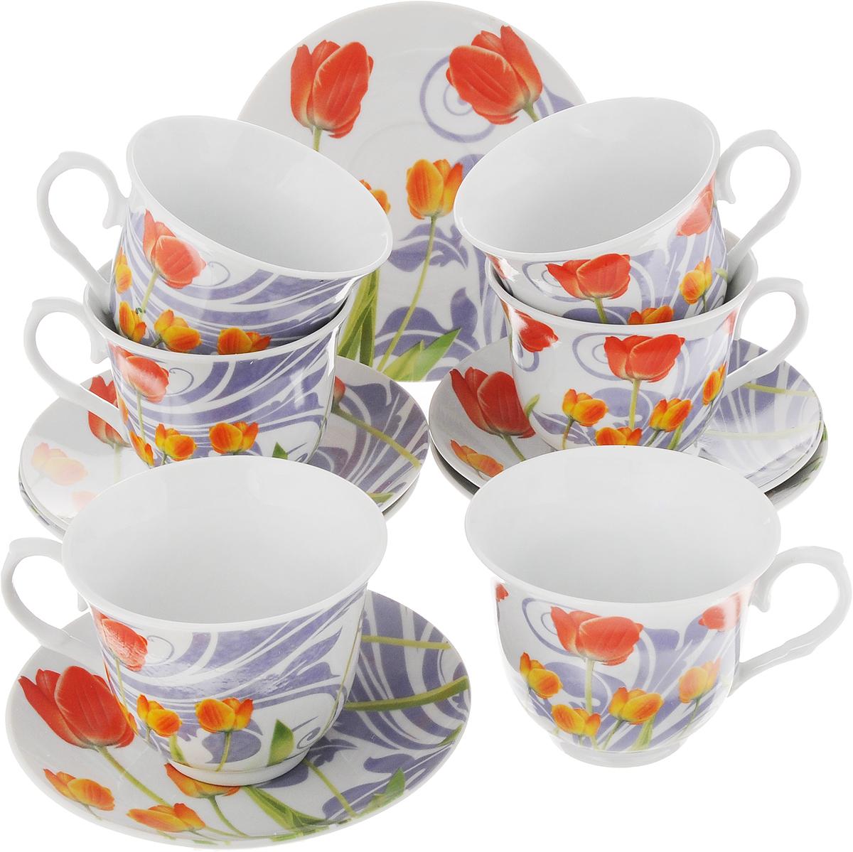 Набор чайный Bella Тюльпаны, 12 предметовDL-RP6-156Чайный набор Bella состоит из 6 чашек и 6 блюдец, изготовленных из высококачественного фарфора. Такой набор прекрасно дополнит сервировку стола к чаепитию, а также станет замечательным подарком для ваших друзей и близких. Объем чашки: 250 мл. Диаметр чашки (по верхнему краю): 9 см. Высота чашки: 7,5 см. Диаметр блюдца: 14 см. Высота блюдца: 1,8 см.