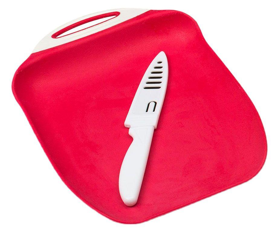 Набор Menu Ланч: доска разделочная, нож в чехлеLNC-27Набор Menu Ланч: доска разделочная с ножом в чехле. Доска выполнена из высококачественного пищевого пластика, поверхность которой не тупит лезвия ножей и не впитывает запахи продуктов. Нож выполнен из нержавеющей стали и пищевого пластика. Размер доски: 27х18 см.