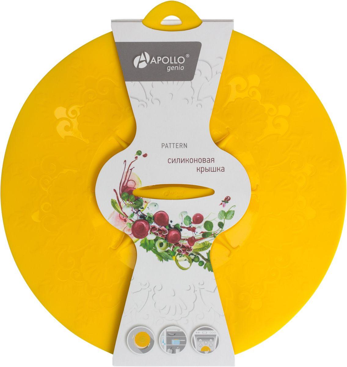 Крышка силиконовая Apollo Genio Pattern, цвет: желтый. Диаметр 26 смPTR-26Крышка Apollo Genio Pattern выполнена из пищевого силикона. Она предназначена для герметичного закрытия любой посуды. Крышка плотно прилегает к краям емкости, ограничивая доступ воздуха внутрь, благодаря этому ваши продукты останутся свежими гораздо дольше. Основные свойства: - выдерживает температуру от -40°С до +240°С, - невозможно разбить, - легко моется, - не деформируется при хранении в свернутом виде, - имеет долгий срок службы, сохраняя свой первоначальный вид, - не выделяет вредных веществ при нагревании или охлаждении, - не впитывает запахи, - не вступает в химическую реакцию с продуктами, - подходит для использования в духовом шкафу и микроволновой печи без использования режима Гриль, морозильной камере и для мытья в посудомоечной машине. Не использовать абразивные моющие средства и острые предметы. Рекомендуется ручная мойка.