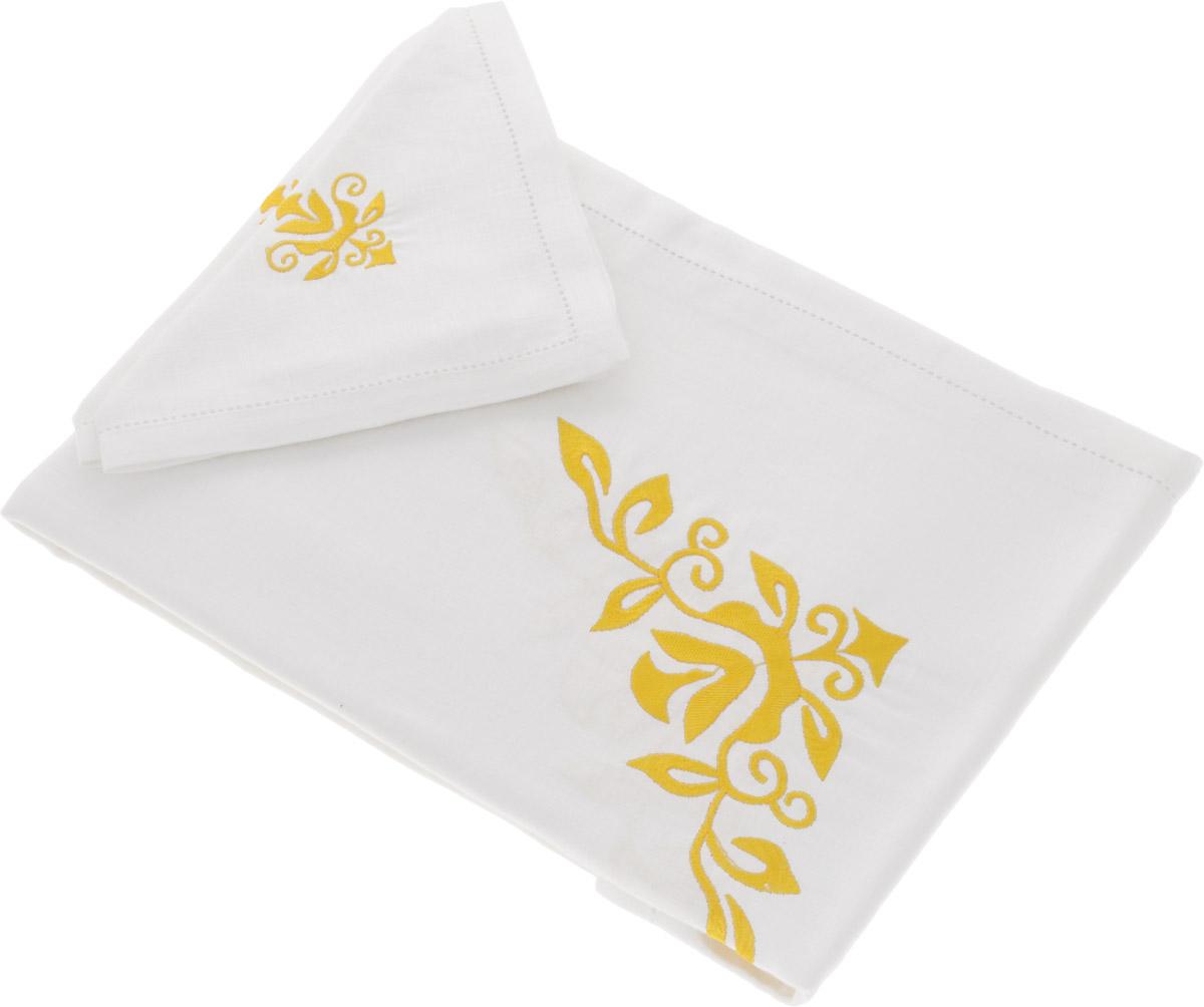 Комплект столовый Гаврилов-Ямский Лен Орнамент, цвет: белый, желтый, 7 предметов5со3969_белый, желтый рисунокСтоловый комплект Гаврилов-Ямский Лен Орнамент состоит из скатерти и 6 салфеток, выполненных из 100% льна. Лен - поистине, уникальный экологически чистый материал. Изделия из льна обладают уникальными потребительскими свойствами. Такой комплект порадует вас невероятно долгим сроком службы. Столовый комплект Гаврилов-Ямский Лен Орнамент придаст вашему дому уют и тепло. Размер скатерти: 140 х 180 см. Размер салфетки: 42 х 42 см.