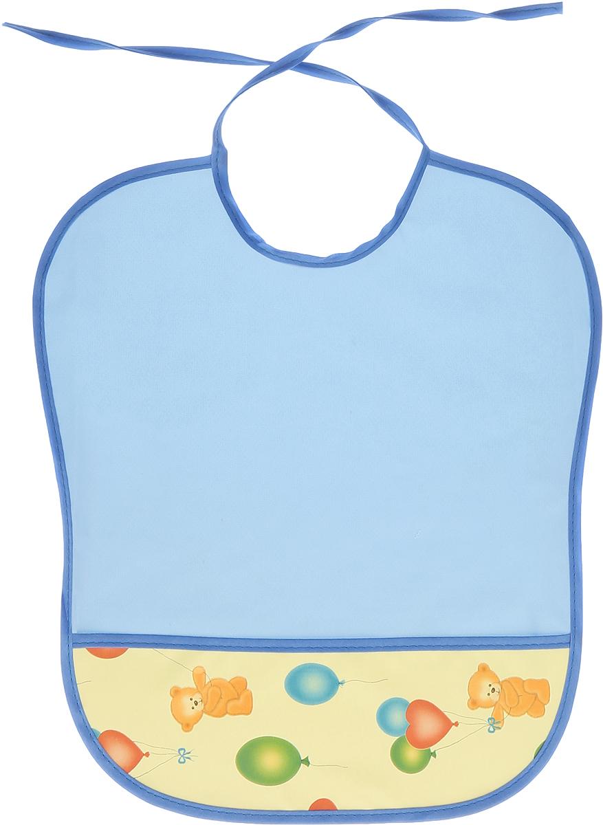 Колорит Нагрудник Мишки с шариками цвет голубой синий 33 см х 33 см