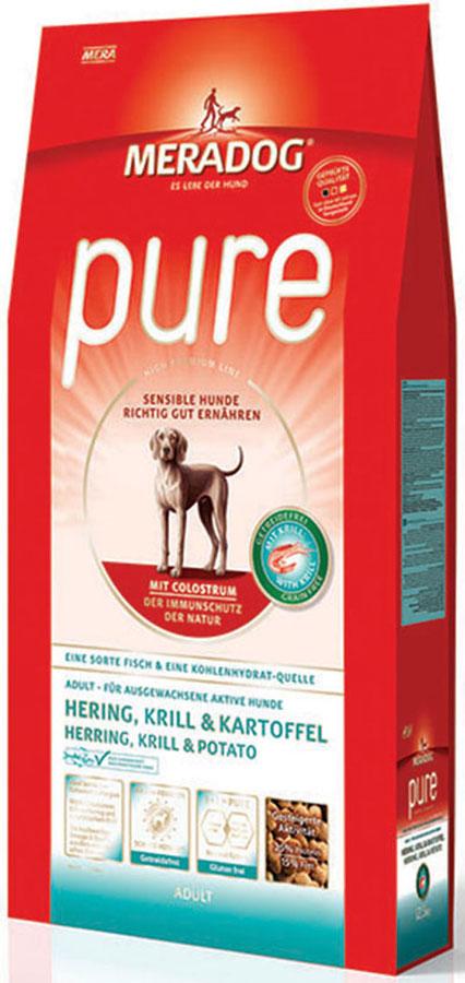 Корм сухой Meradog Pure Hering, Krill & Kartoffel, для взрослых собак с проблемами в питании/аллергиями, без злаков, с сельдью, крилем и картофелем, 4 кг54634Полнорационный корм для взрослых собак с проблемами в питании и/или аллергиями. Без злаков – с морской сельдью, антарктическим крилем и картофелем и концепция защиты от MERADOG:антиоксиданты (витамин C, Е, бета-каротин и селен) для оптимальной защиты клеток. Натуральные жирные кислоты Омега-3 и Омега-6 (криль, подсолнечное масло и масло льняных семян), а также хелат цинка для кожи и шерсти. Пребиотический инулин для стабильной кишечной флоры и надежного пищеварения. Необходимая энергетическая ценность, высококачественный животный белок (сельдь, криль) для поддержания оптимального телосложения и жизнеспособности. Идеален при многих видах пищевых аллергий: только один источник углеводов и только один вид рыбы. Криль, маннанолигосахариды и бета-глюканы для оптимальной иммунной защиты.