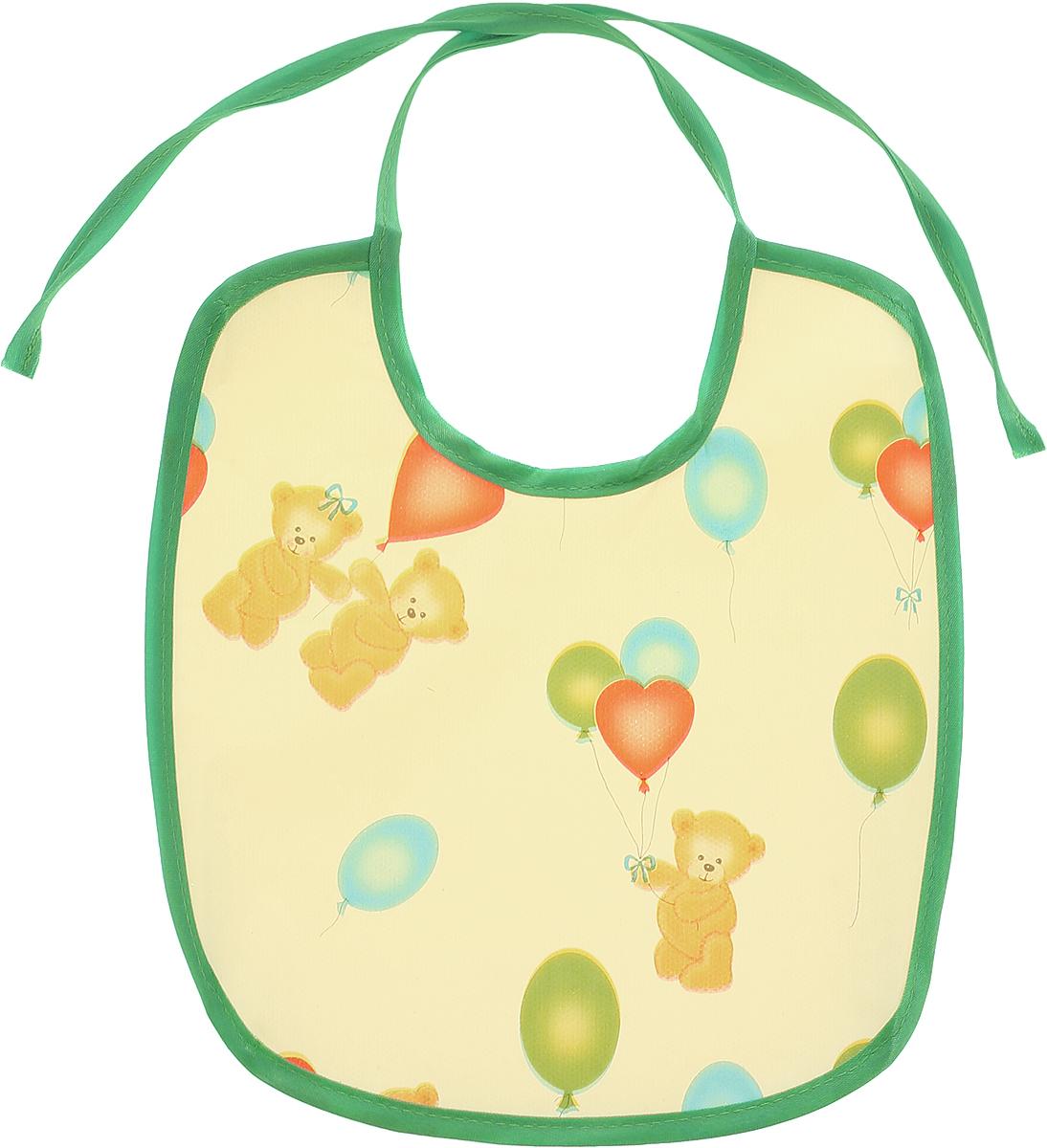Колорит Нагрудник защитный Мишки с шариками цвет желтый зеленый 20 см х 22 см