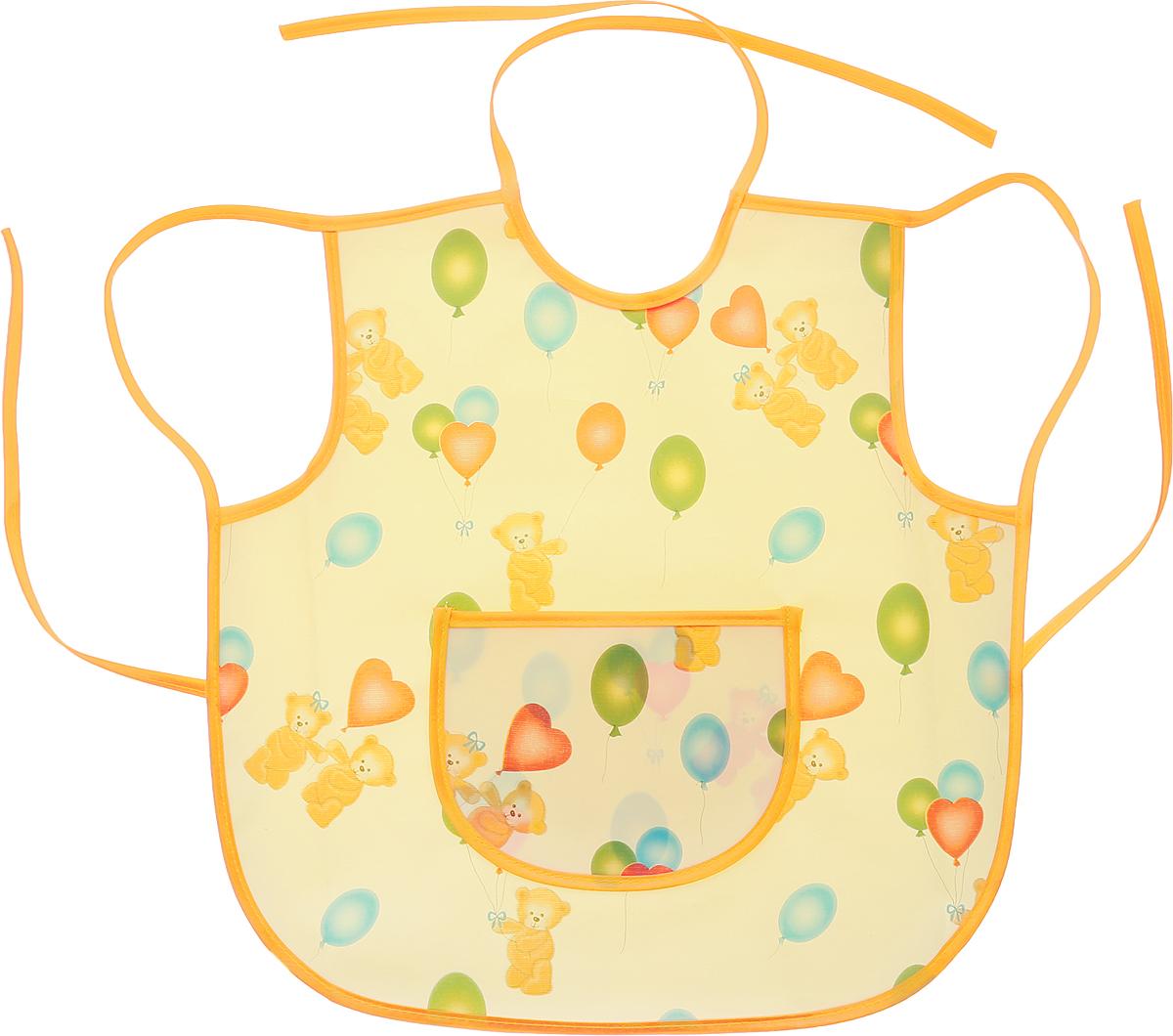 Колорит Фартук защитный Мишки с шариками цвет желтый оранжевый 36 см х 36 см0071_желтый фон с рисункомФартук Колорит Мишки с шариками с непромокаемым слоем защитит одежду малыша во время кормления и освободит родителей от дополнительных хлопот. Фартук на завязках - выбор практичных мамочек, пользоваться им можно длительное время, пока ваш малыш растет. Благодаря завязкам вы сможете легко контролировать длину изделия и регулировать размер горловины. Лицевая сторона оформлена забавным изображением.