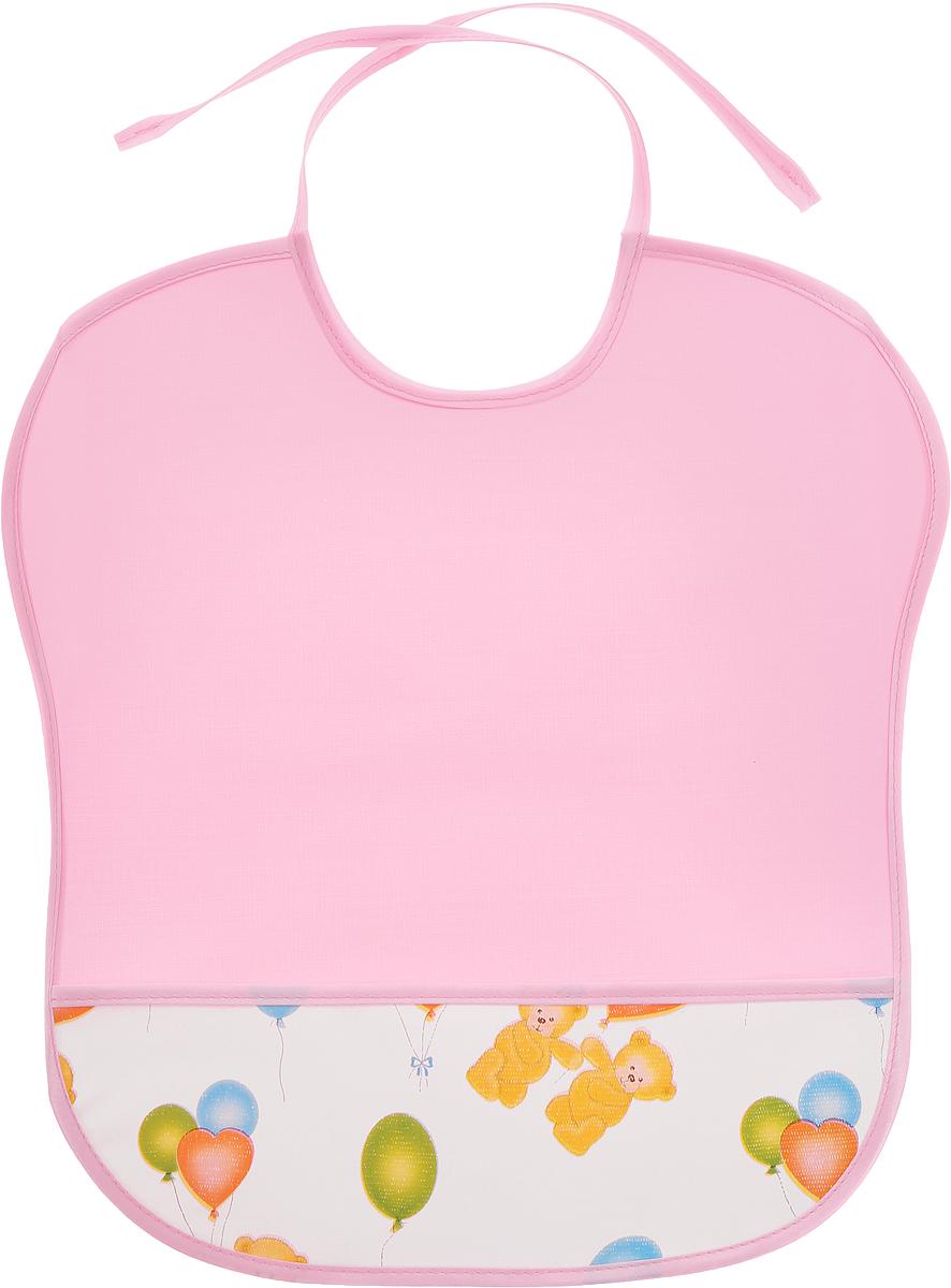 Колорит Нагрудник защитный с карманом Мишки цвет розовый белый 33 см х 33 см
