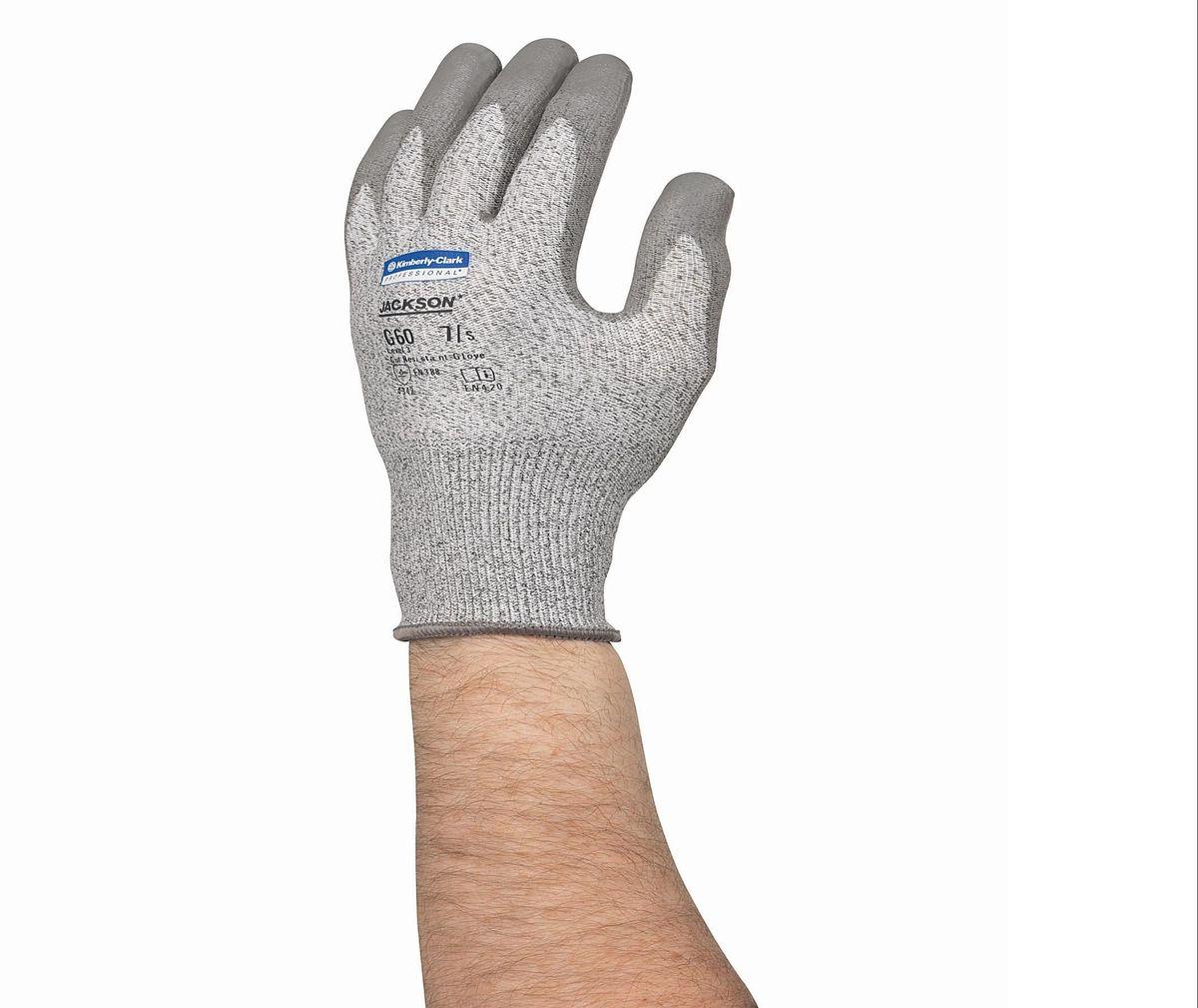 Перчатки хозяйственные Jackson Safety G60, цвет: серый. Размер 11. 1382713827Ассортимент экономичных и долговечных защитных перчаток и нарукавников для условий работы, при которых существует риск порезов или защемления рук и предплечий работника. Идеальное решение для работ с острыми краями, участков металлообработки, работ со стеклом или картоном, а также сборочных операций в автомобилестроении; СИЗ категории II (CE Intermediate), 3-й уровень защиты от порезов и высокий уровень стойкости к истиранию (4 - EN 388); превосходная защита от порезов и защемлений благодаря использованию патентованного материала Dyneema® со стальной нитью; соответствуют нормам EN420 по минимальной длине манжеты для защиты запястья; отличная воздухопроницаемость и отвод тепла. Формат поставки: пара не содержащих латекс перчаток; индивидуальный дизайн для левой и правой руки; возможность стирки, пять размеров с цветовой кодировкой манжет. Размер: 13823 - S (7) 13824 - M (8) 13825 - L (9) 13826 - XL (10) 13827 - XXL (11)
