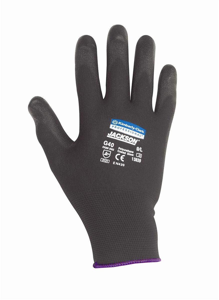 Перчатки хозяйственные Jackson Safety G40, цвет: черный. Размер 9 (L). 1383913839Ассортимент перчаток для защиты рук от механических воздействий – повышают безопасность труда и сокращают затраты. Идеальное решение, обеспечивающее защиту СИЗ категории II (CE Intermediate) при выполнении операций на производственных участках, в машиностроении, строительстве и любых других универсальных работах. Высокий 4-й уровень стойкости к истиранию (согласно EN 388). Хорошая защита от механических травм и порезов при повышенной тактильной чувствительности, позволяющей работать с мелкими деталями. Воздухопроницаемость материала благодаря пенному нитриловому покрытию. Тыльная часть из бесшовного вязаного нейлона обеспечивает воздухопроницаемость материала. Формат поставки: перчатки с индивидуальным дизайном для левой и правой руки; пять размеров с цветовой кодировкой манжет; гладкое нитриловое покрытие ладони обеспечивает превосходный сухой захват; тыльная часть из бесшовного вязаного нейлона для воздухопроницаемости и комфорта. Размеры: 13837 - 7 (S) 13838 - 8 (M) 13839 - 9 (L)...