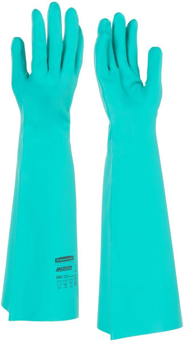 Перчатки хозяйственные Jackson Safety G80, цвет: зеленый. Размер 8(M). 2562225622Ассортимент перчаток для защиты рук от химических веществ и механических воздействий - повышают безопасность работ и сокращают затраты. Удлиненные до 45 см перчатки являются СИЗ категории III (CE Complex), применяются в различных отраслях промышленности: нефтехимической, авиационной, автомобильной, металлообрабатывающей, пищевой, а также в машиностроении, для работы с химическими веществами, маслами, смазками, спиртами, кислотами, растворителями, обеспечивая возможность погружения руки в перчатке в химические жидкости. Обладают высокой стойкостью к истиранию (4 - EN 388). Отсутствие внутренней подкладки обеспечивает защиту продукта от загрязнений. Допустимы к применению в пищевой промышленности. Формат поставки: 12 пар не содержащих латекс перчаток; индивидуальный дизайн для левой и правой руки; специальный рельеф наконечников пальцев обеспечивает отличный захват в сухом и влажном состоянии; флокированный внутренний слой облегчает надевание и повышает комфорт при длительном ношении. ...