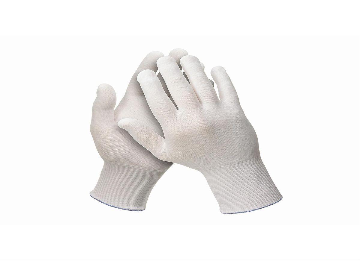 Перчатки хозяйственные Jackson Safety G35, цвет: белый. Размер 9 (L). 3871938719Универсальные эргономичные перчатки белого цвета из 100% нейлона категории I (CE Simple) с максимальной тактильной чувствительностью для обнаружения мельчайших дефектов поверхности. Идеальное решение для автомобильной и авиационной промышленности для точных задач и лакокрасочных работ, где требуется безворсовый продукт, без наличия силикона в его составе. Отсутствие швов снижает риск возникновения раздражения на коже пользователя, а также повышает уровень воздухопроницаемости. Не является средством индивидуальной защиты. Единый дизайн для обеих рук, в наличии пять размеров, цветовая кодировка манжет для идентификации размера; двойная полиэтиленовая упаковка, которая минимизирует риск загрязнения продукта. Размеры: 38716 - 6 (XS) 38717 - 7 (S) 38718 - 8 (M) 38719 - 9 (L) 38720 - 10 (XL)