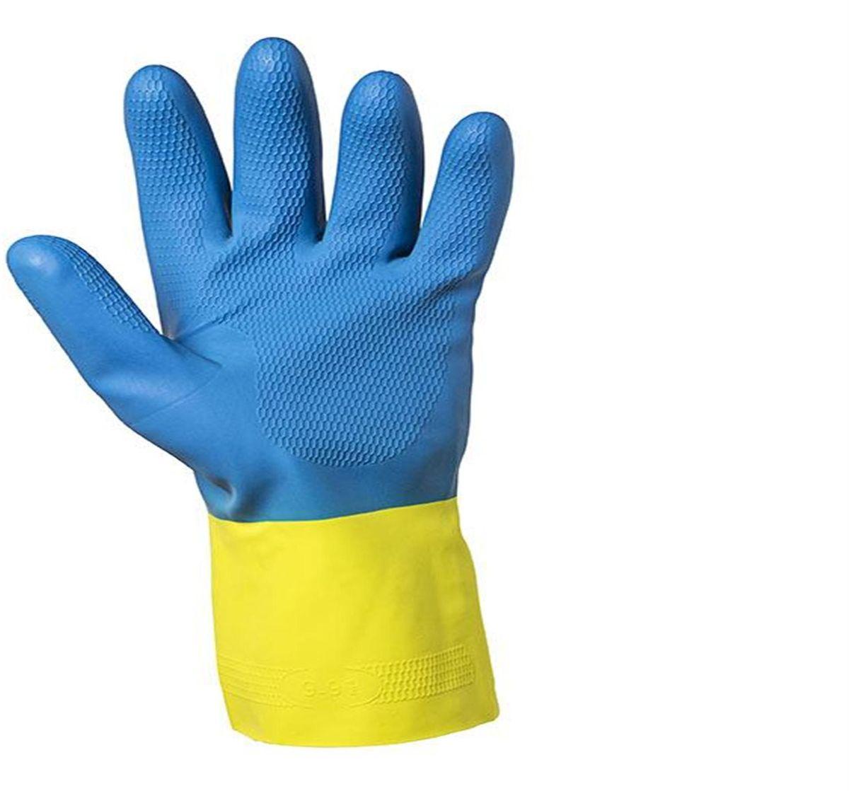 Перчатки хозяйственные Jackson Safety G80, цвет: желтый, голубой. Размер 9 (L). 3874338743Защитные перчатки JACKSON SAFETY® G80 латекс/неопрен для защиты от химических веществ подходят для целого спектра областей применения: обеспечивают надежную защиту от воздействия химических веществ. Относятся к СИЗ категории III (CE Complex), а также обеспечивают защиту от механического воздействия в тех областях, где работают с химическими веществами, маслами, густыми смазками, кислотами, каустическими средствами или растворителями. Разрешен контакт с пищевыми продуктами. Поставляются в виде пары перчаток с индивидуальным дизайном для левой и правой руки; толщина 0,70 мм; имеют неопреновое покрытие поверх латекса для обеспечения максимальной защиты, а также для улучшения гибкости материала. Удлиненные манжеты, текстурированный материал в области ладони обеспечивает отличный захват при работе сухими/влажными поверхностями; хлопковое напыление на внутренней стороне перчатки обеспечивает легкость при надевании/снятии перчатки, а также комфорт при длительном использовании. Хлорированы...